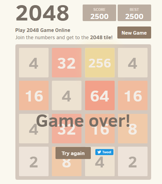 2048 Game Over