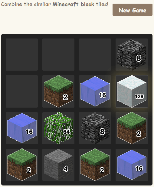 Different types of 2048 - Minecraft